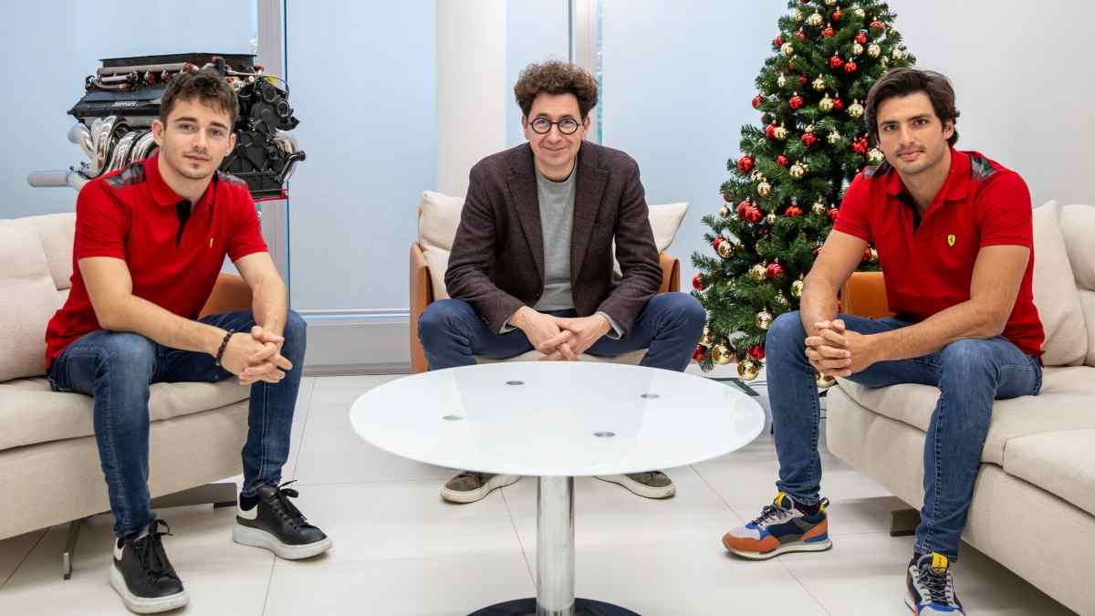 Leclerc, Binotto y Carlos Sainz. (Ferrari)