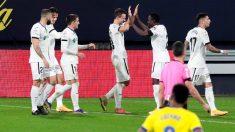 El Getafe celebra un gol ante el Cádiz. (EFE)