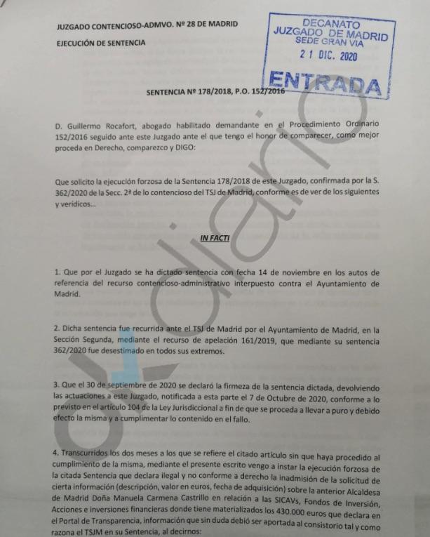 Carmena desprecia a los tribunales 5 meses después de que le obligasen a revelar sus finanzas