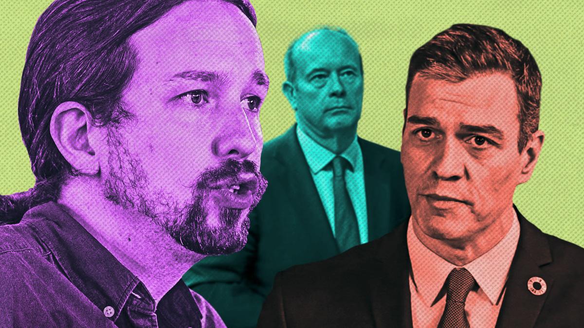 Pablo Iglesias, Pedro Sánchez y Juan Carlos Campo, ministro de Justicia.
