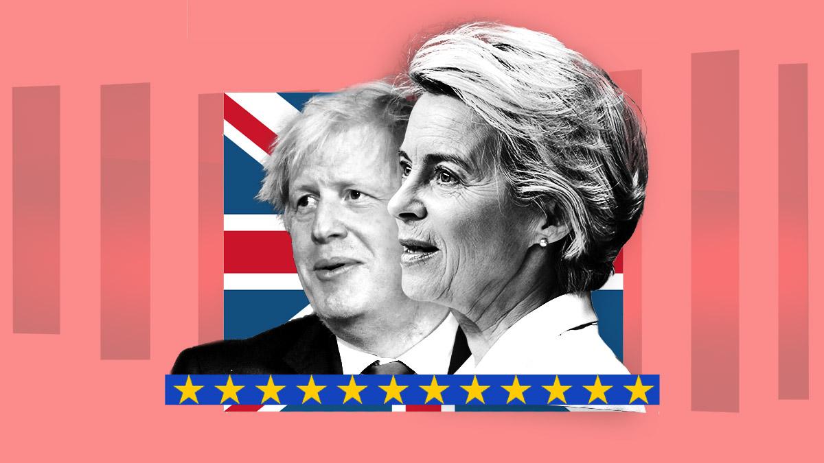Boris Johnson, primer ministro británico, y Ursula Von der Leyen, presidenta de la Comisión Europea.