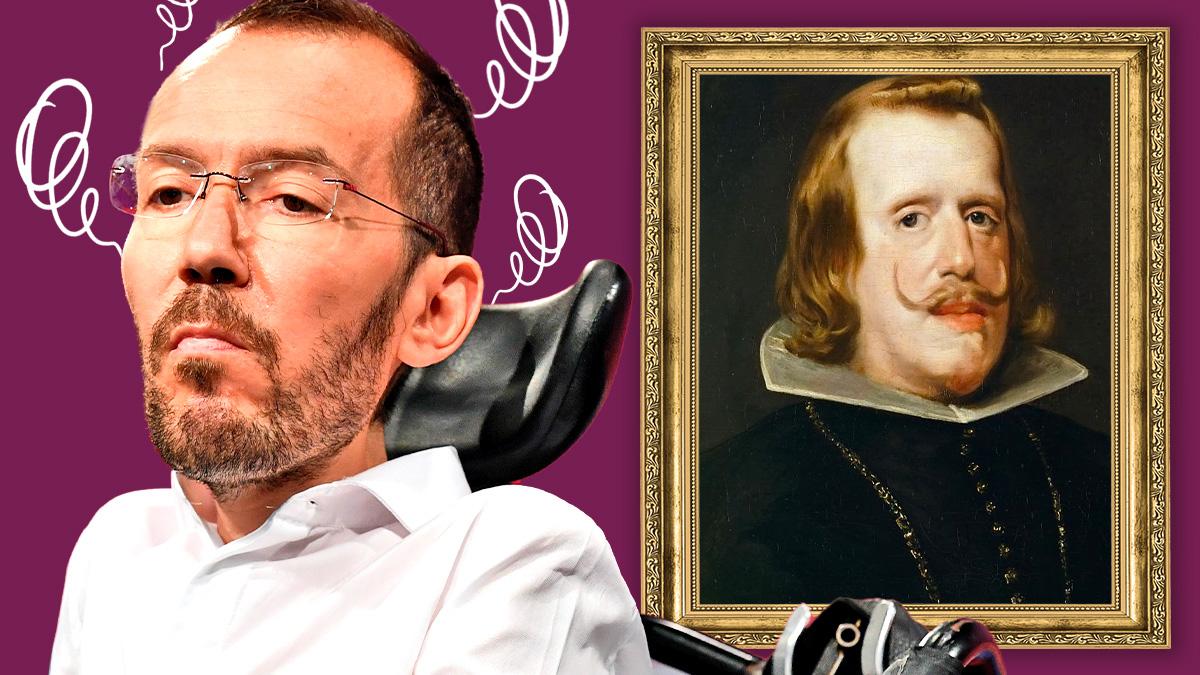 Pablo Echenique junto a un retrato de Felipe IV.