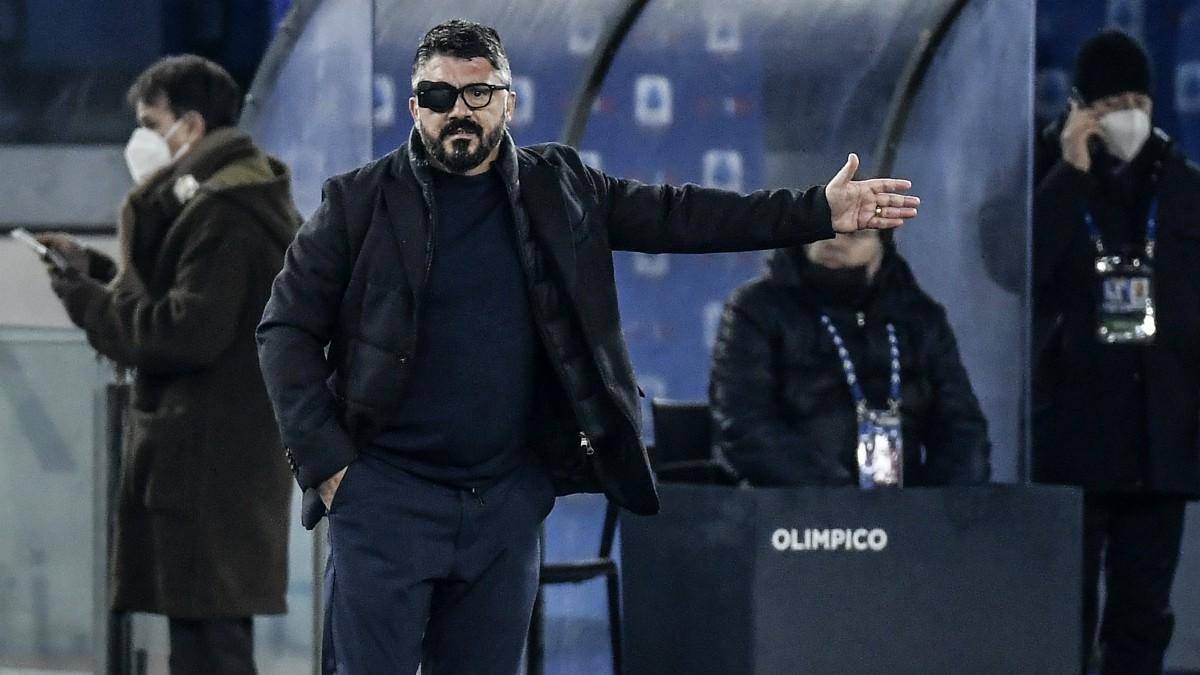 Gattuso, durante un partido del Nápoles. (AFP)
