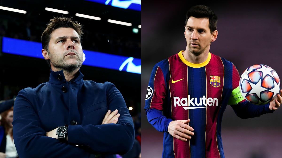 Mauricio Pochettino y Leo Messi.