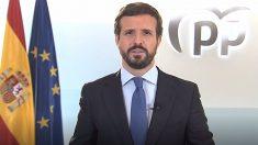 El presidente del PP, Pablo Casado, valora el mensaje de Navidad del Rey. Foto: EP