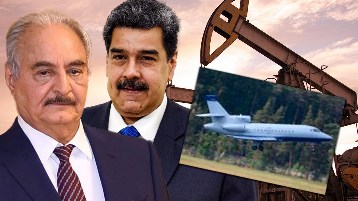 El general rebelde libio Haftar, el dictador venezolano, Nicolás Madruro y el avión que estuvo en La Coruña