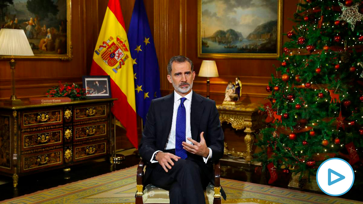 El Rey Felipe VI pronunciando su discurso de Navidad. Foto: EP
