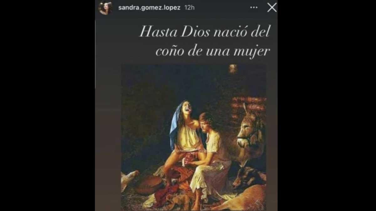 Post de Sandra Gómez sobre el nacimiento de Jesús.