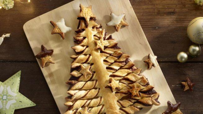 Receta de árbol de Navidad de hojaldre y chocolate