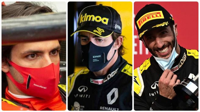 Carlos Sainz. Fernando Alonso y Ricciardo
