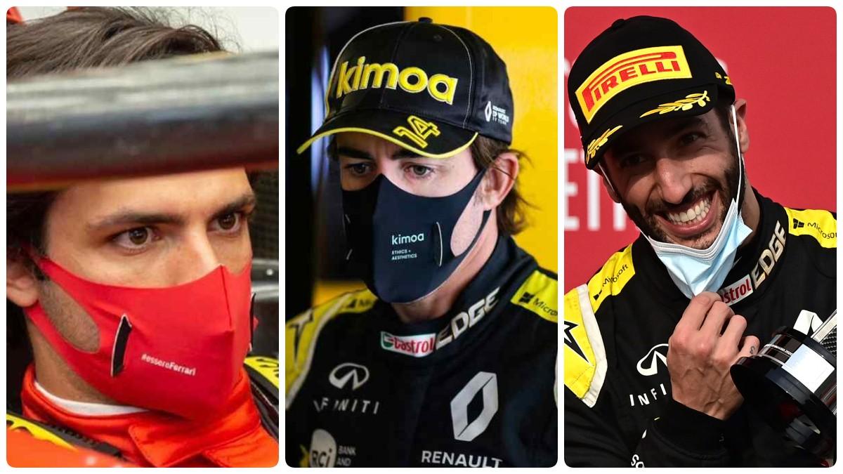 Carlos Sainz. Fernando Alonso y Ricciardo.
