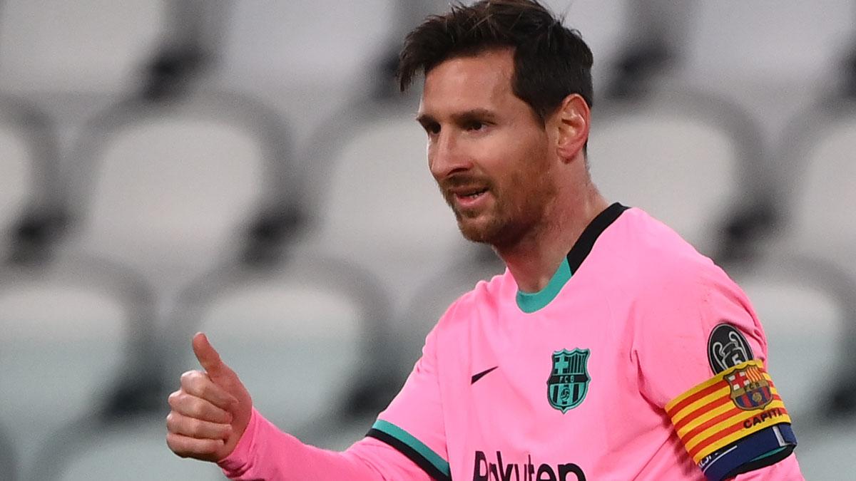 Messi, durante un partido de Champions League (AFP)
