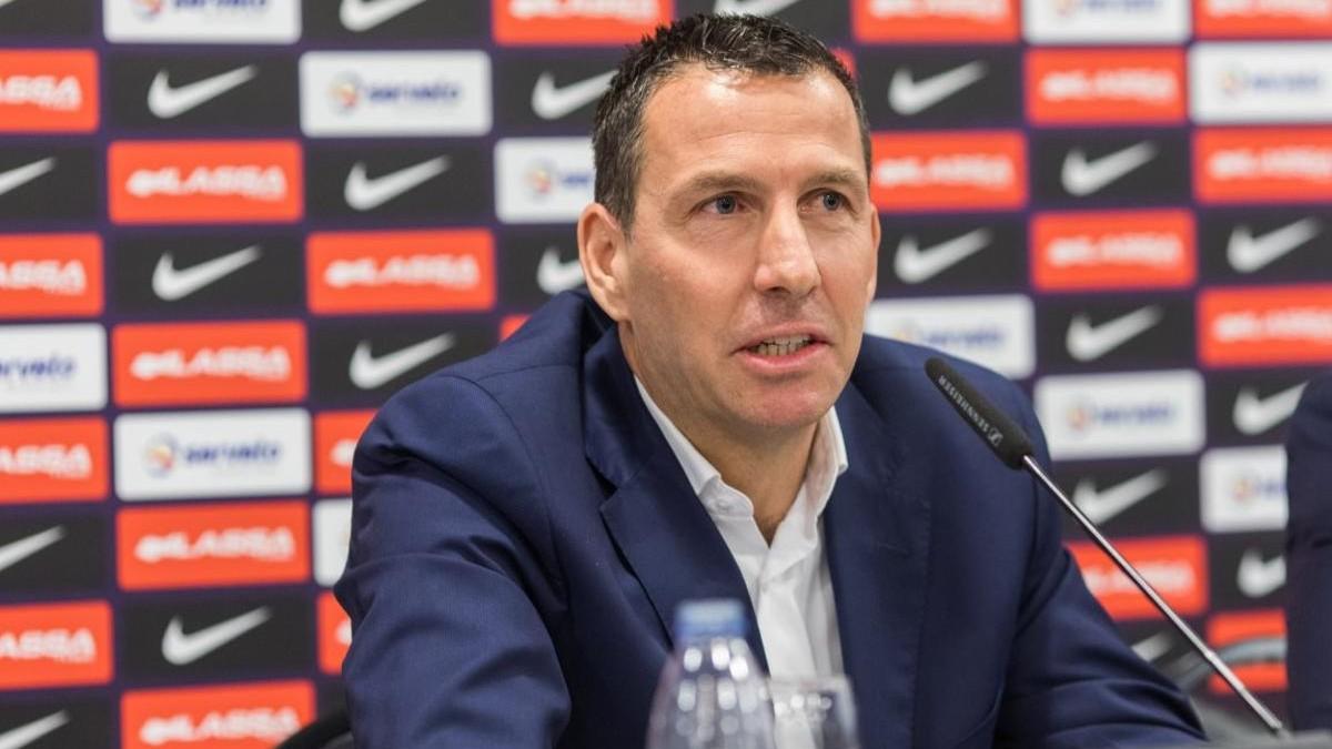 Nacho Rodríguez, durante una rueda de prensa. (FC Barcelona)