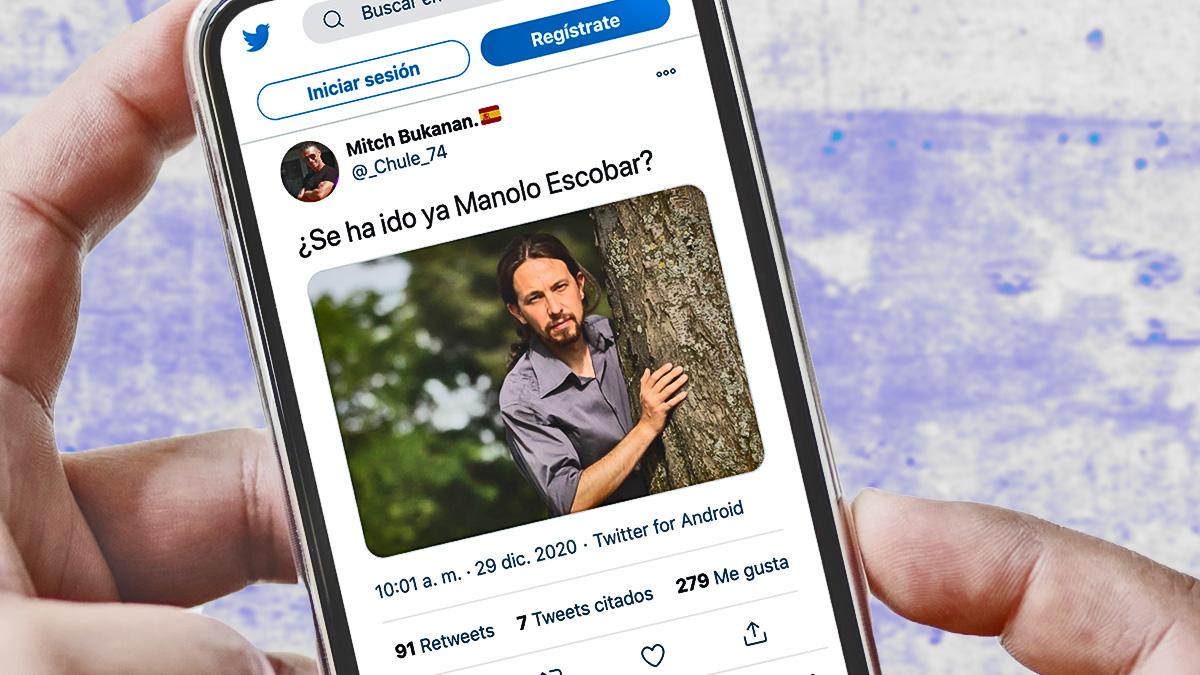 Twitter se llena de memes de Pablo Iglesias por su «miedo» a Manolo Escobar.