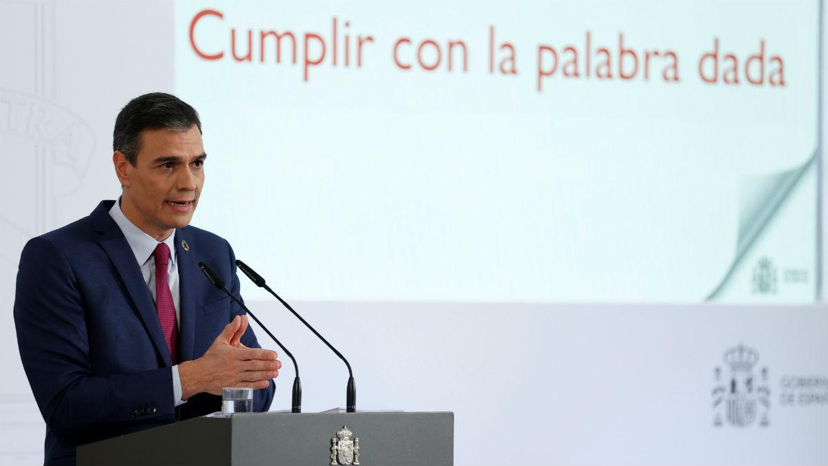 Pedro Sánchez en la presentación de su informe de rendición de cuentas de 2020. (Foto: Efe)