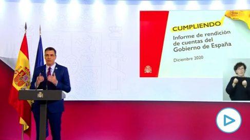 El jefe del Ejecutivo, Pedro Sánchez, haciendo balance de su primer año de Gobierno de coalición.