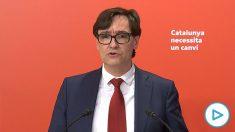 Salvador Illa durante su discurso de aceptación para encabezar la lista del PSC a las elecciones catalanas.