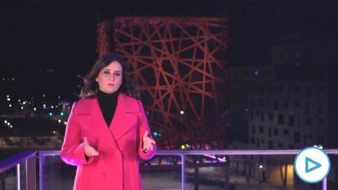 La presidenta de la Comunidad de Madrid, Isabel Díaz Ayuso, en su discurso de Fin de Año desde Móstoles.
