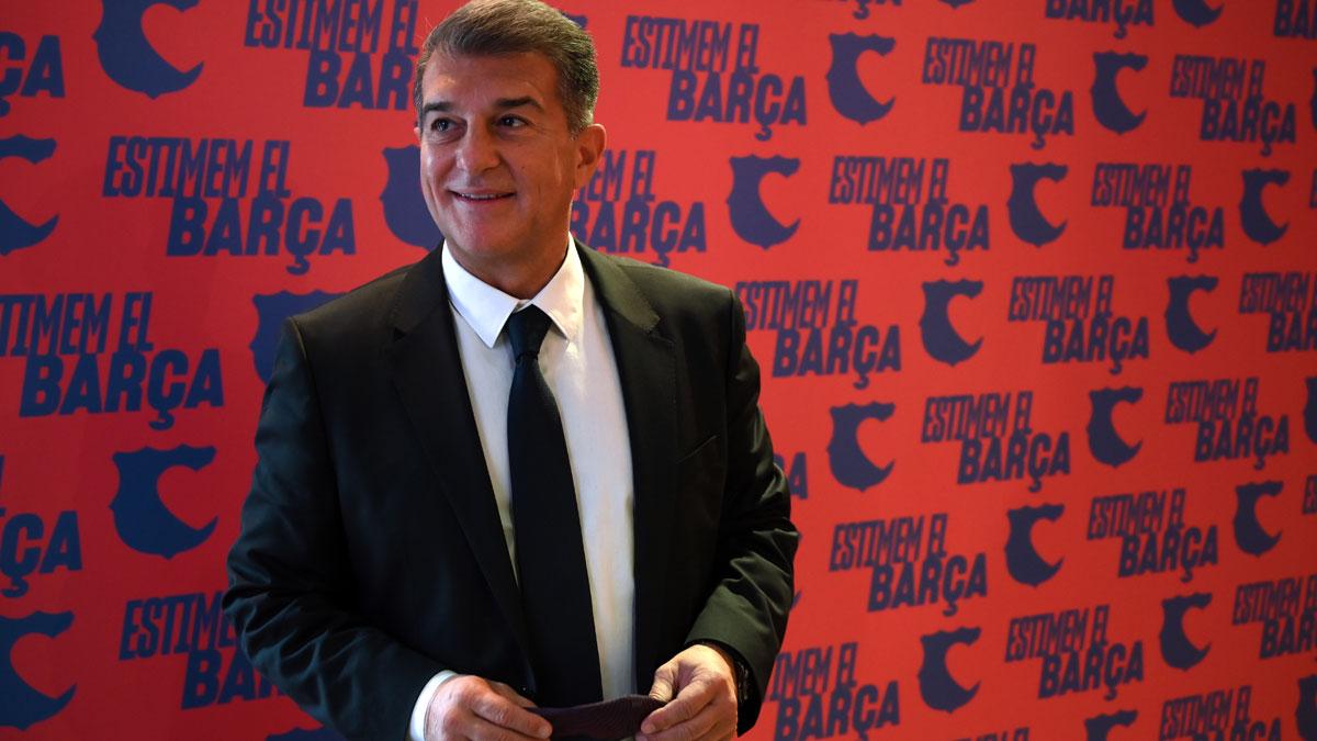Laporta, durante la presentación de su candidatura a la presidencia del Barcelona (AFP)