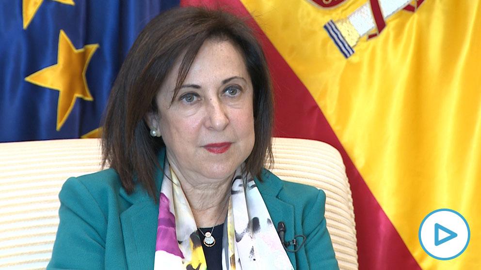 La ministra de Defensa, Margarita Robles, hace balance del primer año del Gobierno de coalición. (Imagen: EP)