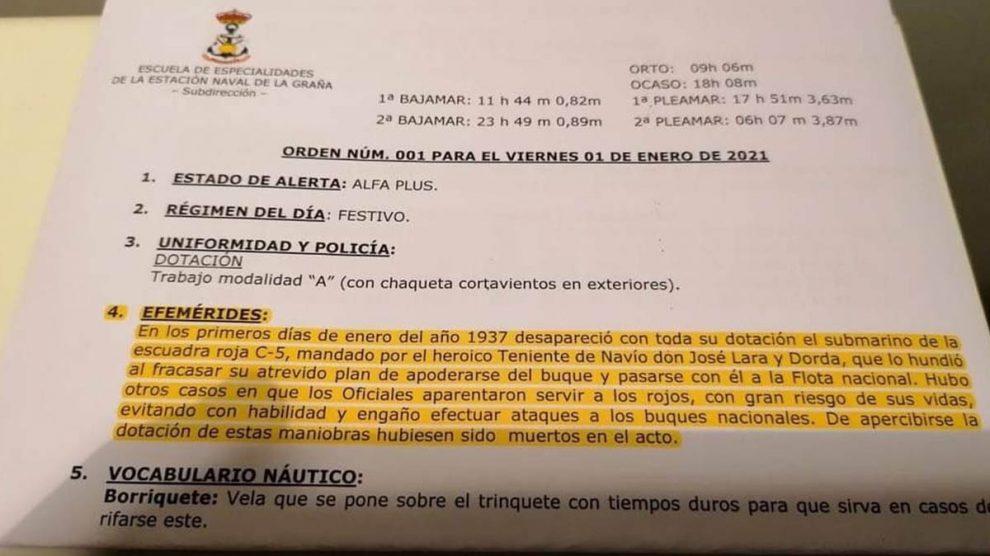 Orden del día 1 de enero de 2020 de la Escuela Naval de la Armada en Ferrol, que lleva en sus 'efemérides' el hundimiento de un submarino de la «escuadra roja».