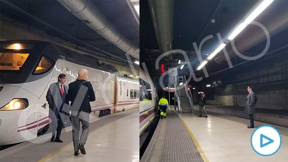 El ministro de Sanidad, Salvador Illa, en una sesión de fotos sin mascarilla en la estación de Sants (Barcelona).
