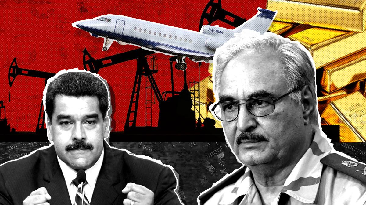 El general Haftar y el avión usado por Maduro para sacar oro de Venezuela