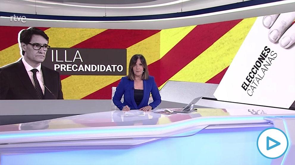 TVE hace campaña por Salvador Illa en su telediario como candidato a las elecciones catalanas.