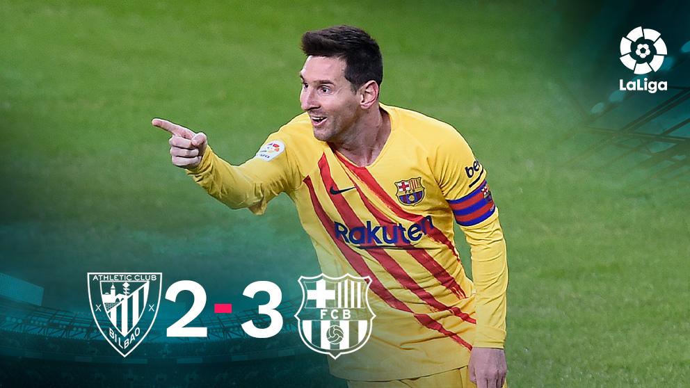 Leo Messi celebra uno de sus goles en San Mamés.