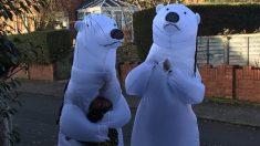 Abuelos disfrazados de osos polares