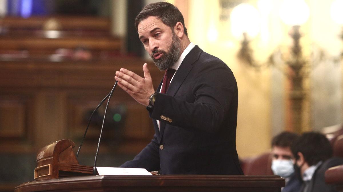 El presidente de Vox, Santiago Abascal, en el Congreso de los Diputados. (Foto: Europa Press)