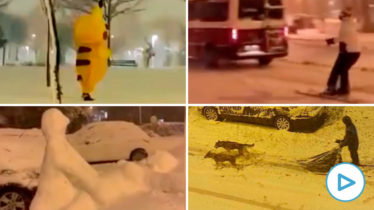 Las escenas más surrealistas de la nevada en Madrid.