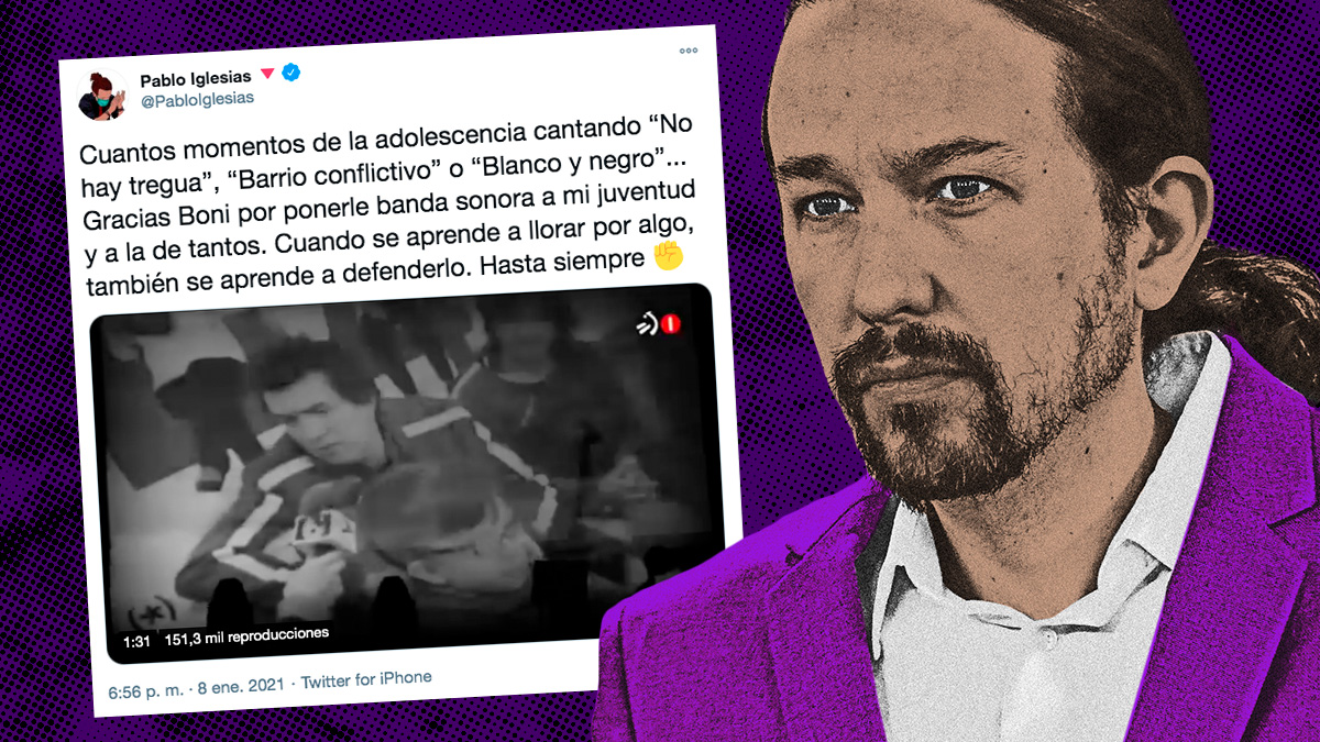 El mensaje publicado en Twitter por el vicepresidente Pablo Iglesias.