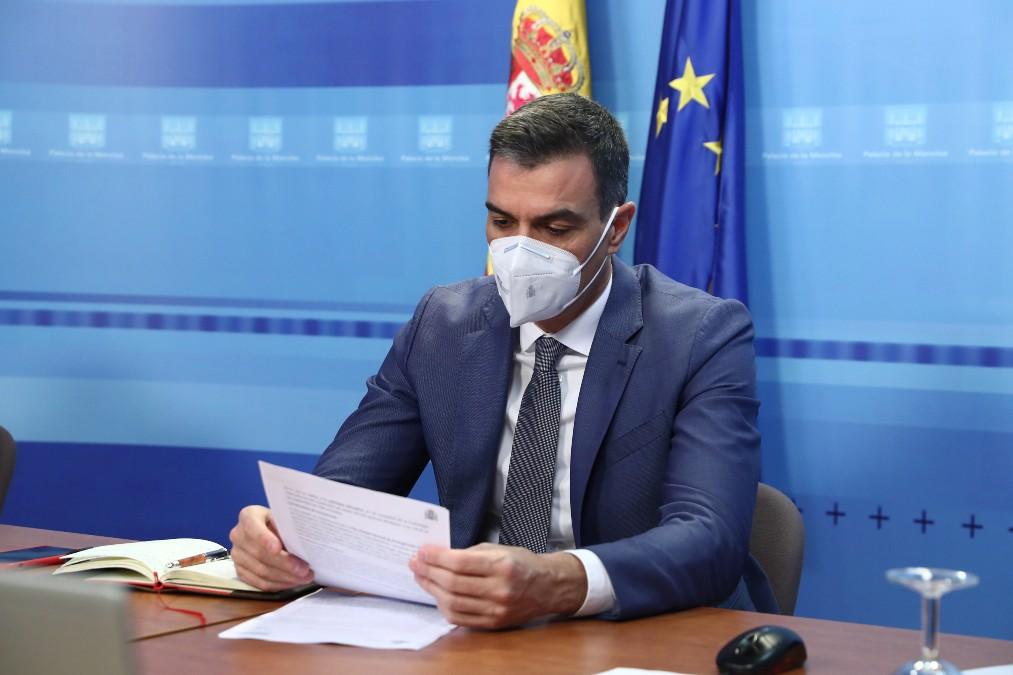 Pedro Sánchez, este lunes, en La Moncloa.