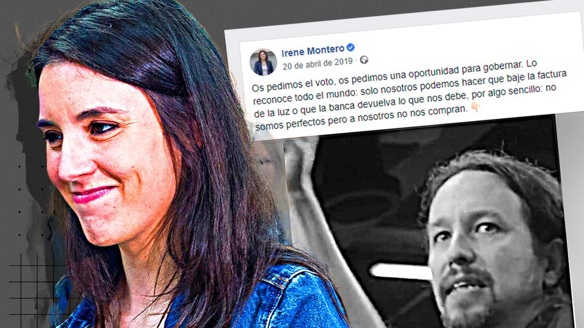 Irene Montero en 2019: «Sólo nosotros podemos hacer que baje la factura de la luz».