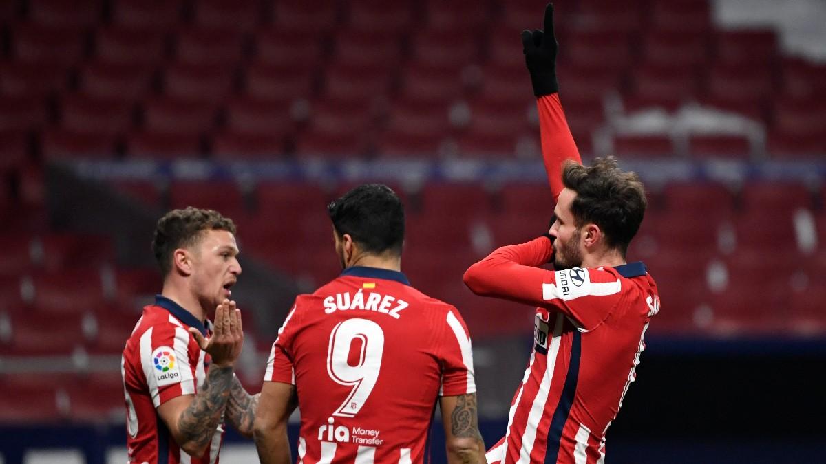 Saúl celebra su gol en el Atlético de Madrid-Sevilla. (AFP)