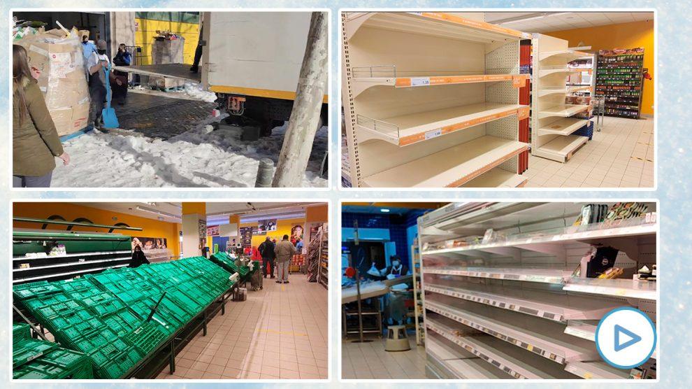 Miles de supermercados de la región de Madrid siguen desabastecidos y con problemas de suministro por el hielo