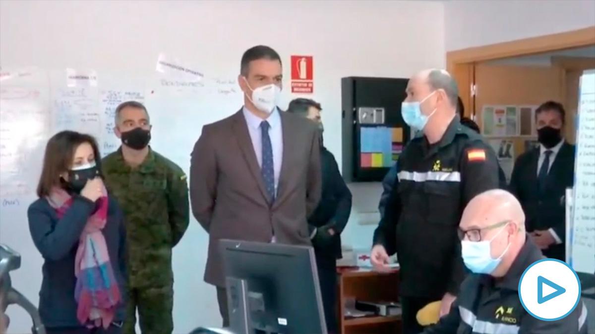 Pedro Sánchez, este martes, en su visita a la UME.