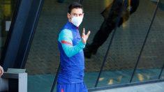 Messi, a la llegada del Barcelona a Córdoba. (EFE)