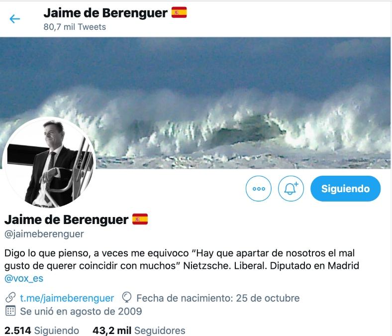Perfil del diputado de Vox en la Asamblea de Madrid, Jaime de Berenguer.