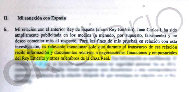 Corinna afirma en su declaración que posee «información y documentos» sobre los negocios del Rey emérito en el extranjero.