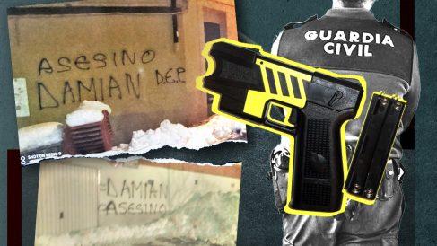 Aparecen pintadas amenazantes contra el agente que disparó a un detenido en Teruel que acabó falleciendo. Las asociaciones policiales exigen a Interior que compre pistolas eléctricas ya.
