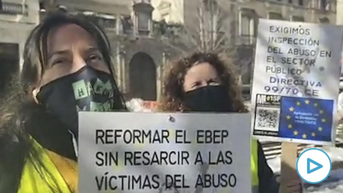 Manifestación en Madrid de los trabajadores públicos temporales de la Administración