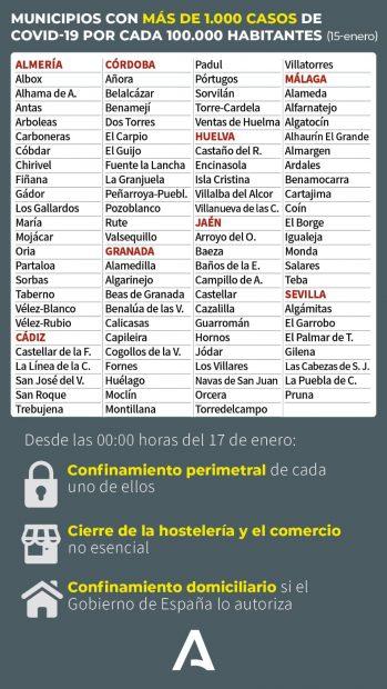 Los 91 municipios con una tasa superior a los 1.000 casos por cada 100.000 habitantes.