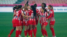 Las jugadoras del Atlético de Madrid celebran uno de los goles frente al Levante en la Supercopa de España. (EFE)