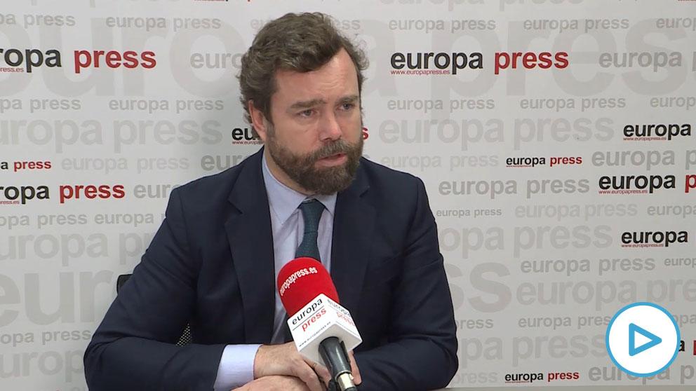 El portavoz de Vox en el Congreso, Iván Espinosa de los Monteros, en la entrevista de Europapress.