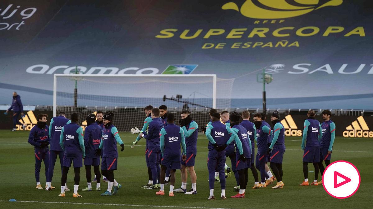 Los jugadores del Barcelona, en un entrenamiento.