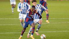 Ousmane Dembélé durante una acción en el Real Sociedad-Barcelona. (AFP)