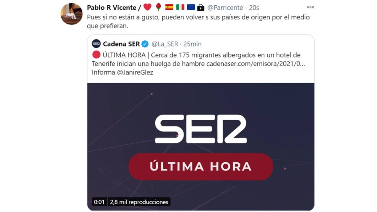 Tuit de un asistente del PSOE en el Congreso.