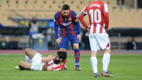 Lionel Messi, tras agredir a Villalibre. (AFP)